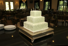 Wedding Cake at Reception. A wedding cake awaits guests to the reception Stock Images