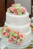 Wedding cake. At the reception hall royalty free stock image