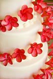 Wedding Cake with red flowers Royalty Free Stock Image