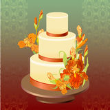 Wedding cake with red iris flower design. Vector illustration. Stock Photo