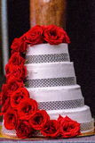 Wedding Cake. With Red Roses Royalty Free Stock Photography