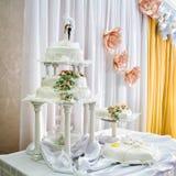 Wedding cake at restaurant reception Royalty Free Stock Photography