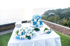 Wedding cake,romantic,beautiful sunset and sea. Stock Images