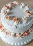 Wedding cake with rose decorations. White wedding cake with peach colored rose decorations made from icing. Shallow depth of field. Focus on top of cake stock image