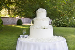 Wedding cake with roses Royalty Free Stock Image