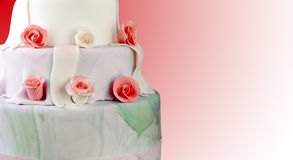Wedding cake with roses Stock Photos