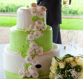 Wedding cake with roses Stock Images