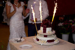 Wedding cake with sparklers Royalty Free Stock Photo