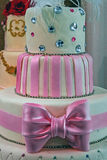 Wedding cake specially decorated.Detail 2. Wedding cake specially decorated with crystals, pink ribbons and knot Royalty Free Stock Photos