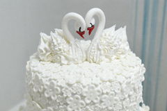 Wedding cake with swans, wedding background. Beautiful wedding cake with swans, wedding background Stock Images