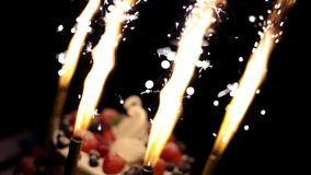 Wedding cake with swans and fire stock video footage