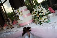 Wedding Cake Table 4. A beautiful wedding cake table and bouquet royalty free stock photos