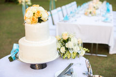 Wedding cake. On the table royalty free stock image