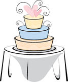 Wedding Cake on a table. Vector based stylized wedding cake on a table Stock Image