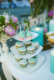 Wedding cake on table Stock Image