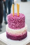 Wedding Cake on a table. Waiting for the bride and groom to cut the cake Royalty Free Stock Image