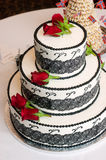 Wedding Cake Three Tiered Rose Covered Sweet Baked Treat Stock Photos