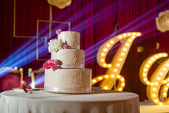 Wedding Cake. A tiered wedding cake at wedding Stock Photography