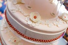 Wedding Cake. A tiered wedding cake at wedding,detail stock photo