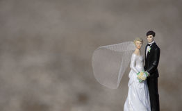 Wedding Cake Topper. A close-up of a wedding cake topper with a blurred background stock image