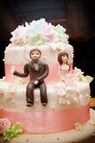 Wedding cake topper. A close up picture of a wedding cake topper royalty free stock photo