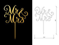 Wedding cake topper. Die cut Cake Topper. Laser cut vector words `Mr and Mrs`. Cutout handmade silhouette for unique wedding decor. The table sign is suitable Royalty Free Stock Photos