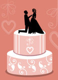 Wedding cake with topper Royalty Free Stock Photos
