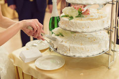 Wedding Cake on Tray. Bride taking slice of wedding cake from tray Royalty Free Stock Photo