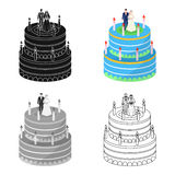 A wedding cake. Treat guests to the wedding.Wedding single icon in cartoon style vector symbol stock illustration. Stock Images
