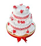 Wedding cake two levels isolated on white background. stock photography