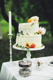 A wedding cake. Wedding vanilla apricot torus on a pedestal decorated with peonies Stock Image