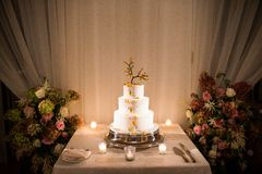 Wedding Cake. At a wedding reception in a ballroom stock photos
