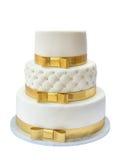 Wedding cake. On white background stock photos