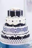 Wedding cake in white, black and grey Stock Photo
