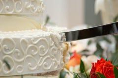 Wedding cake. White wedding cake at reception Stock Photography