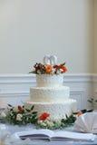 Wedding cake. White wedding cake at reception Stock Image