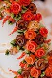 Wedding cake. White wedding cake at reception Royalty Free Stock Image