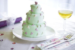 Wedding cake an wine Royalty Free Stock Photo