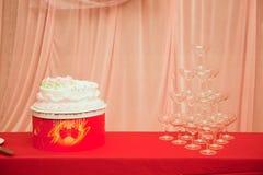 Wedding cake and wineglass Royalty Free Stock Photo