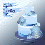 Wedding cake with winter frozen glass design. Vector illustration. Royalty Free Stock Photos