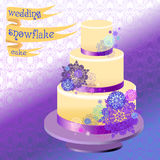 Wedding cake with winter snowflakes design. Vector illustration. Stock Photos