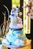 Wedding cake with wood doll Stock Photo