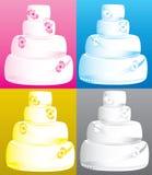 Wedding Cakes. Vector Illustration of 4 four tier wedding cakes Royalty Free Stock Photo