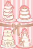 Wedding cakes. A illustration of a set of wedding cakes stock illustration