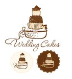 Wedding cakes. Chocolate wedding cakes. Can be used as a logo stock illustration