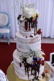 Wedding cakes. Beautifully decorated delicious things Stock Photo