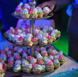 Wedding cakes in blue light Stock Images