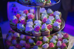 Wedding cakes in blue light Royalty Free Stock Images