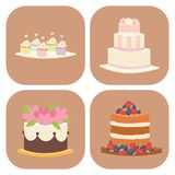 Wedding cakes fresh tasty dessert sweet pastry pie card gourmet homemade delicious cream traditional bakery tart vector stock illustration