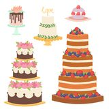 Wedding cakes fresh tasty dessert sweet pastry pie gourmet homemade delicious cream traditional bakery tart vector vector illustration